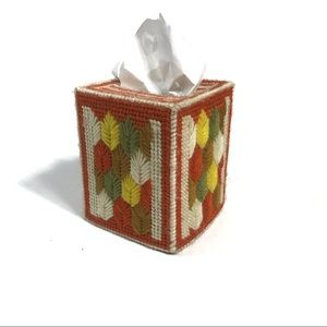 Vintage Yarn Needlepoint Fall Tissue Box Cover